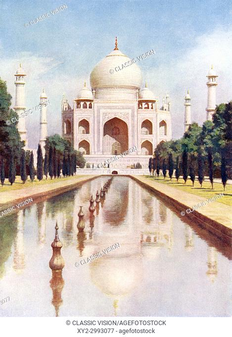 The Taj-Mahal, Agra, Uttar Pradesh, India. It was commissioned in 1632 by the Mughal emperor, Shah Jahan to house the tomb of his favourite wife, Mumtaz Mahal