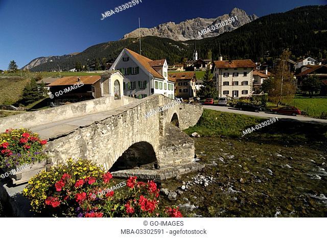 Bridge in Svognin, Canton of Grisons, Switzerland