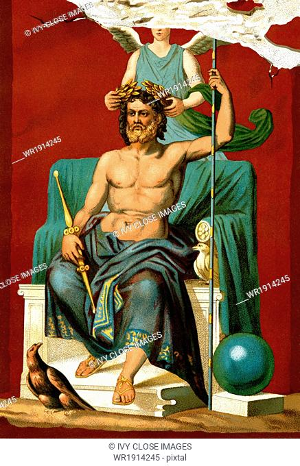Jupiter, the king of gods and men in Roman mythology (the ancient Greeks called him Zeus) is crowned by the goddess Victory