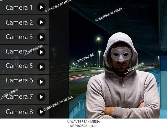 Criminal man on Security Camera App Interface Road Carpark