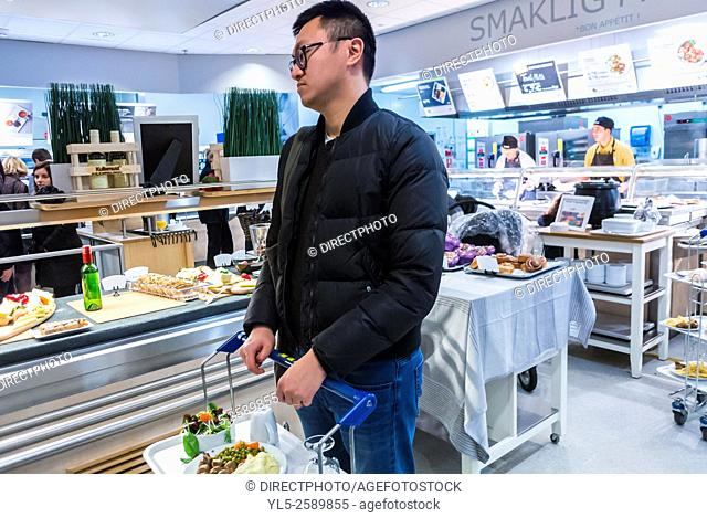 Paris, France, Chinese Man Shopping in D.I.Y. Housewares Store, IKEA, Cafeteria, in Suburbs, Villiers-sur-Marne