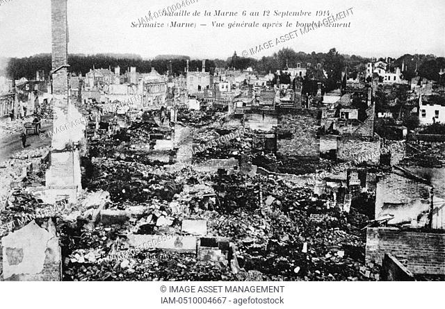 World War I 1914-1918: Aftermath of the First Battle of the Marne, near Paris, France, 5-12 September 1914 - general view of the town of Sermaize-les-Bains...