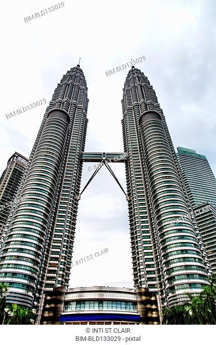 Low angle view of Petronas Twin Towers, Kuala Lumpur, Federal Territory of Kuala Lumpur, Malaysia