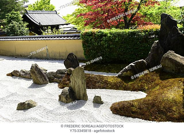 A Zen garden at the Zuiho-in Zen Buddhist temple, a sub-temple of the Daitoku-ji temple complex in Kyoto, Japan, Asia