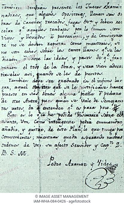 Handwritten letter by Pedro Aranaz (1742-1821) a Spanish composer. Dated 19th Century