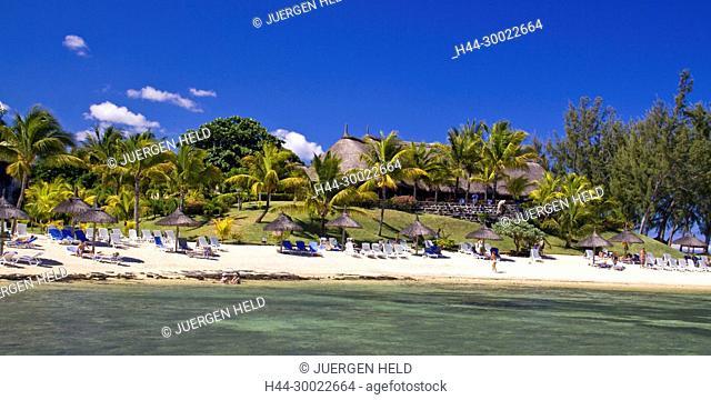 beach at La Pointe aux Canonniers , Hotel Le Nannonier, north east coast , Mauritius, Africa