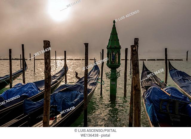 Venice gondolas, fog in Venice, Italy, lamp