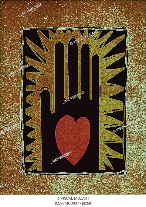 Palm of a hand with a heart, against distressed background