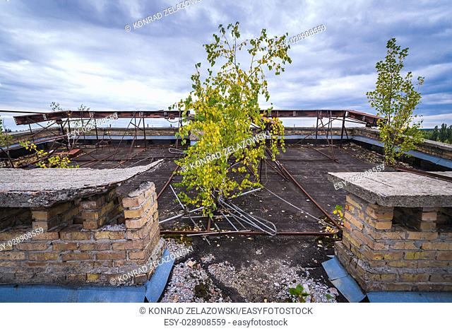 On the roof of Polissya Hotel in Pripyat ghost city of Chernobyl Nuclear Power Plant Zone of Alienation around nuclear reactor disaster in Ukraine