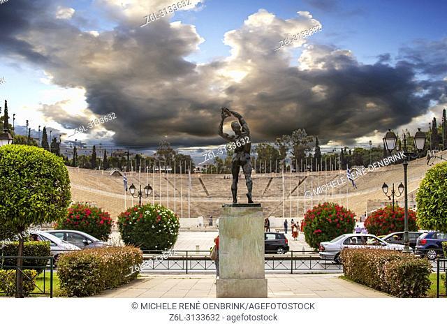 Disk throwing statue in front of the Panathenaic (Kallimarmaro) Olympic Stadium 1896 Athens, Greece