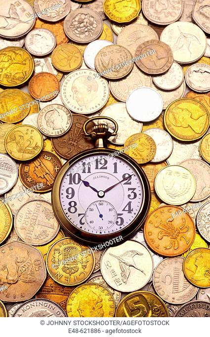 Watch and coins