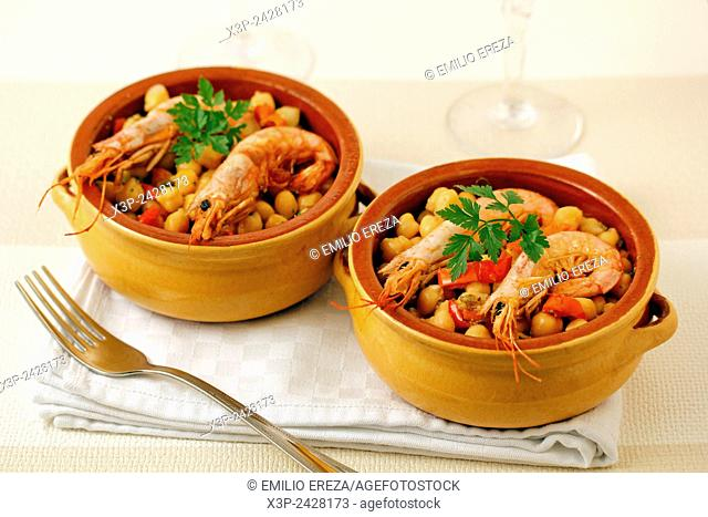 Chickpeas and prawns casserole