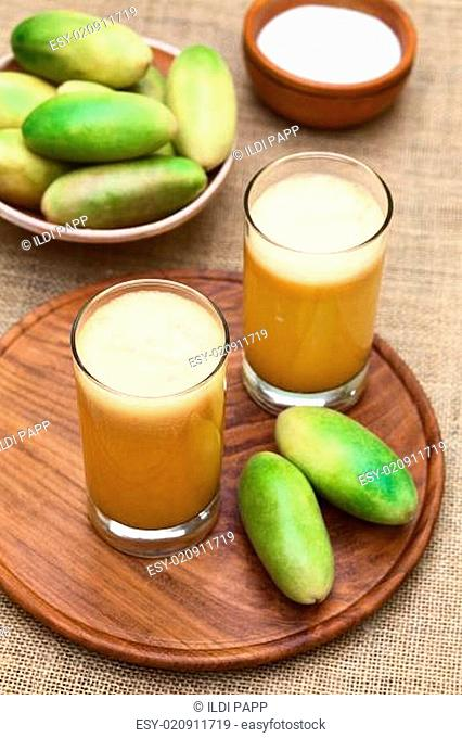 Fresh Juice Made of Banana Passionfruit (lat. Passiflora Tripartita)
