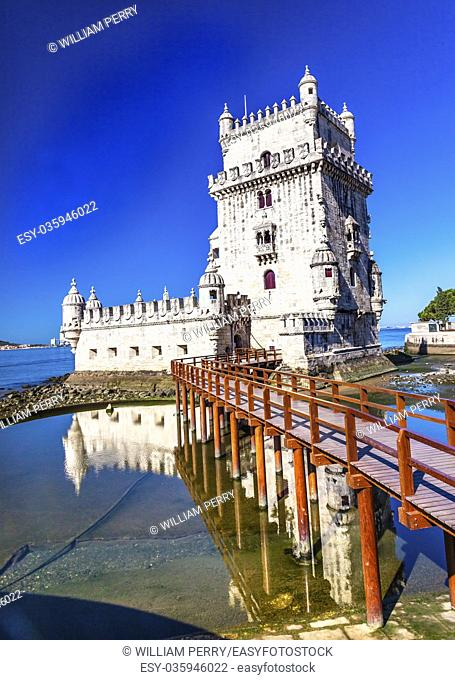 Belem Tower Torre de Belem Portuguese Symbol of Exploration Rflection Lisbon Portugal. Belem Tower was constructed in early 1500s on Tagus River and last point...