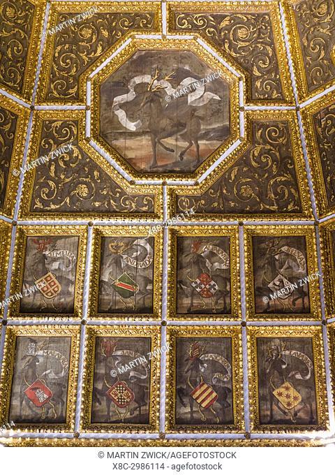 Palacio Nacional de Sintra, the national palace in Sintra, near Lisbon, part of the UNESCO world heritage. The Coat Of Arms Hall (Sala dos Brasoes)