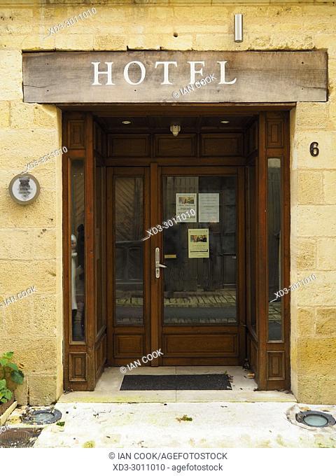 Hotel entrance, Saint-Macaire, Gironde Department, Aquitaine, France