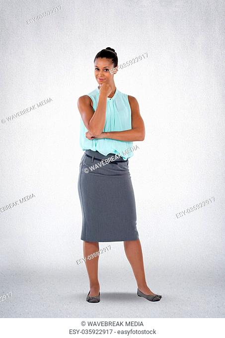 Businesswoman thinking confidently with a cheeky smile and white background