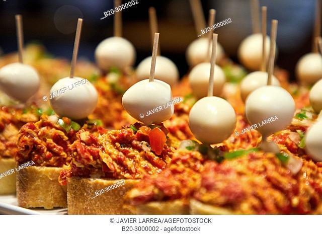 Ajoarriero and quail egg, Pintxos, Bar Restaurante Portaletas, Parte Vieja, Old Town, Donostia, San Sebastian, Gipuzkoa, Basque Country, Spain
