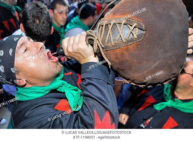 Drinking `barreja mixture of anis and moscatel The typical drink of the Patum  La Patum Masterpiece of Oral and Intangible Heritage by UNESCO Berga  Barcelona...
