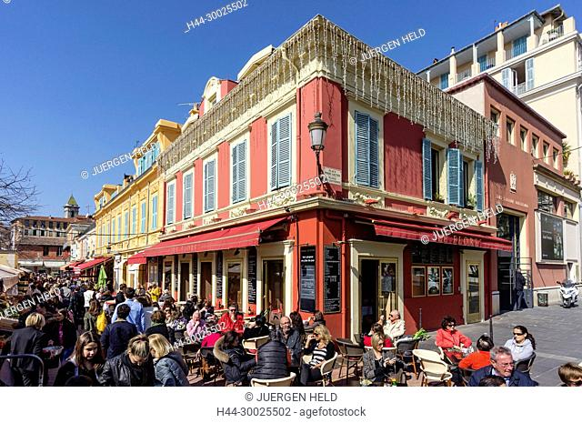 Cours de Saleya, Street Cafes, Nice, Alpes Maritimes, Provence, French Riviera, Mediterranean, France, Europe