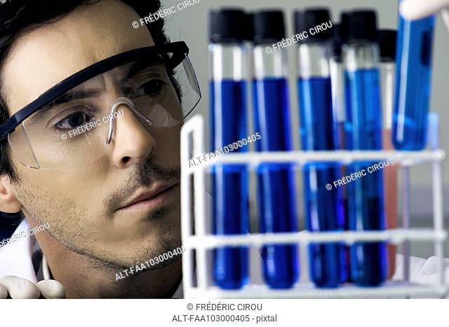 Researcher scrutinizing test tubes in laboratory