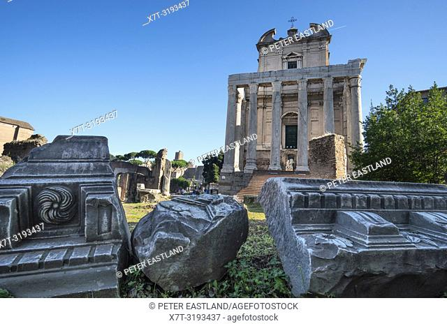 Looking across The Roman Forum towards the Temple of Antoninus and Faustina, now the church of San Lorenzo in Miranda, Roman Forum, Rome, Italy