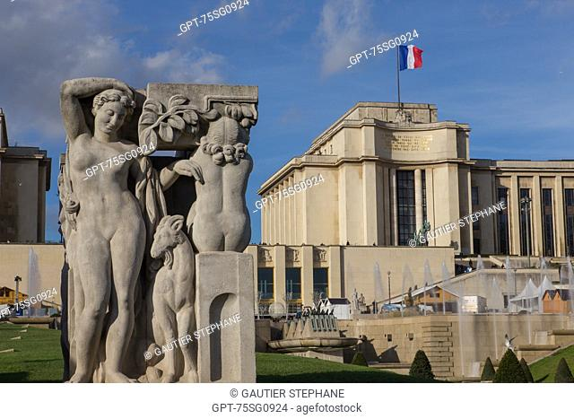 TROCADERO GARDENS, PALAIS DE CHAILLOT, 16TH ARRONDISSEMENT, PARIS (75), ILE-DE-FRANCE, FRANCE