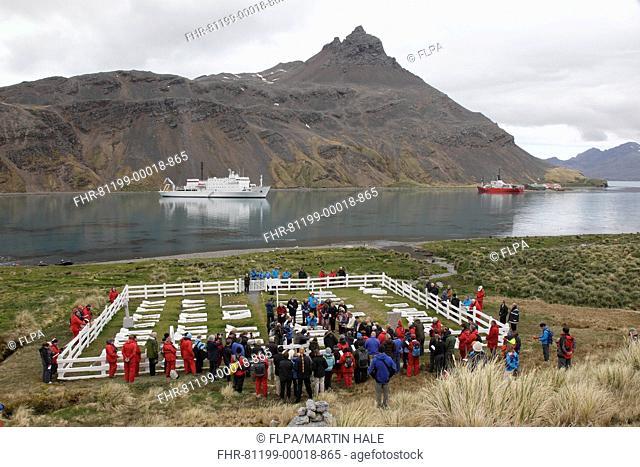 Re-burial of ashes of Frank Wild alongside grave of Sir Ernest Shackleton, Grytviken, South Georgia, 27 November 2011