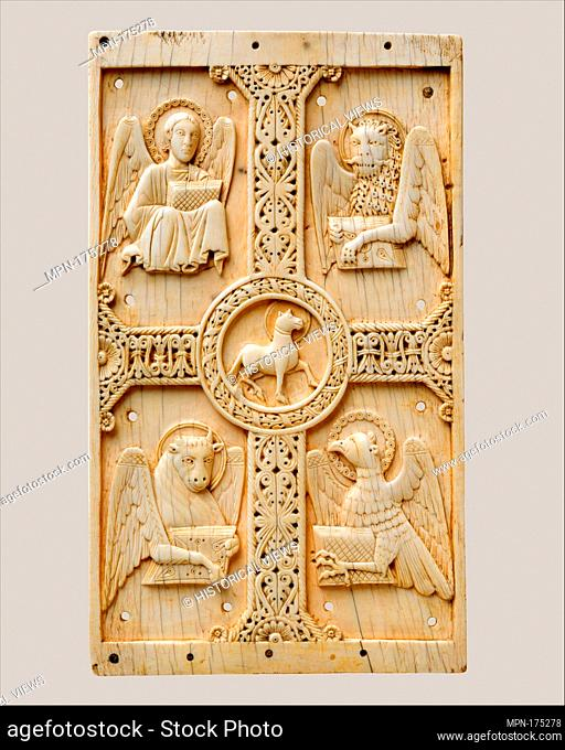 Plaque with Agnus Dei on a Cross between Emblems of the Four Evangelists. Date: 1000-1050; Geography: Made in Benevento (perhaps); Culture: South Italian;...