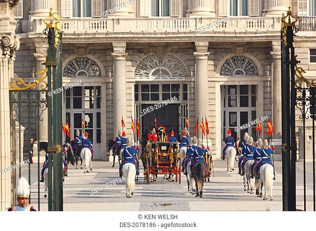 Coach carrying an ambassador to spain to the royal palace for the presentation of credentials ceremony, madrid spain