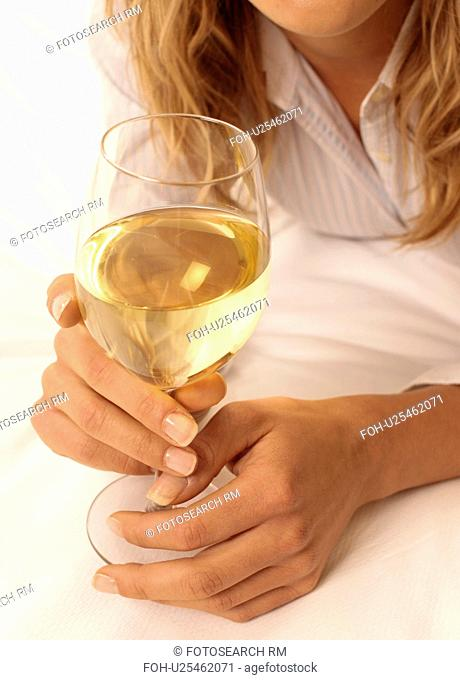 Girl With Glass Of White Wine