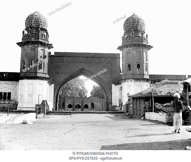 old vintage lantern slide of mecca gate, bijapur, karnataka, India, Asia