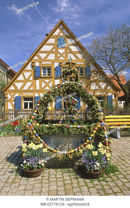Germany, Bavaria, head franc, Means honor brook, Easter wells,  Fränkische Schweiz, Easter, Eastertime, church party, tradition, historically