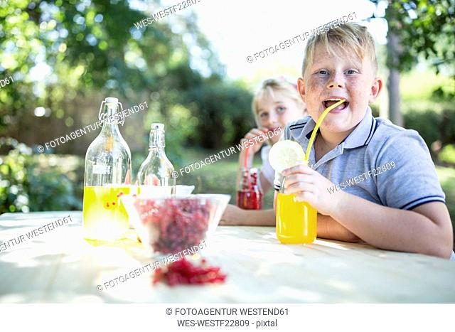 Sister and brother drinking homemade lemonade at garden table