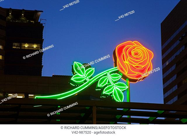 Neon rose sign in Waterfront Park, downtown Portland, Oregon,USA