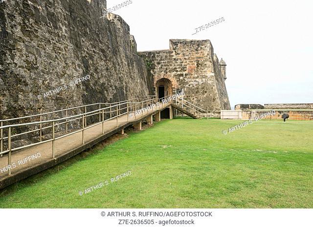 Entrance to tunnel leading to Main Plaza of Castillo San Cristóbal (St. Christopher Castle, St. Christopher Fort,), UNESCO World Heritage Site, San Juan