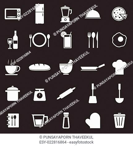 Kitchen icons on black background