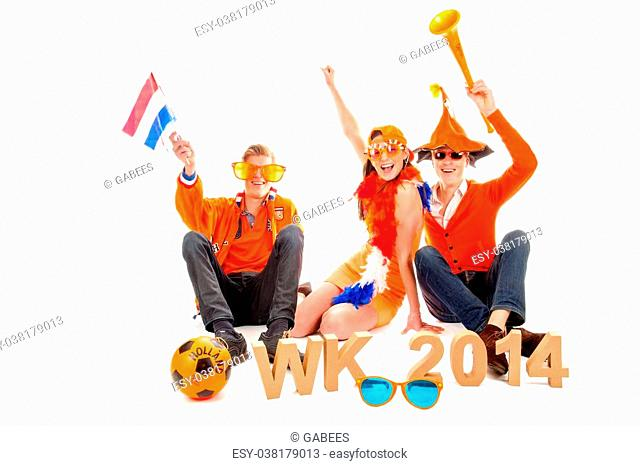two boys and a girl, the supporters of the dutch soccerteam