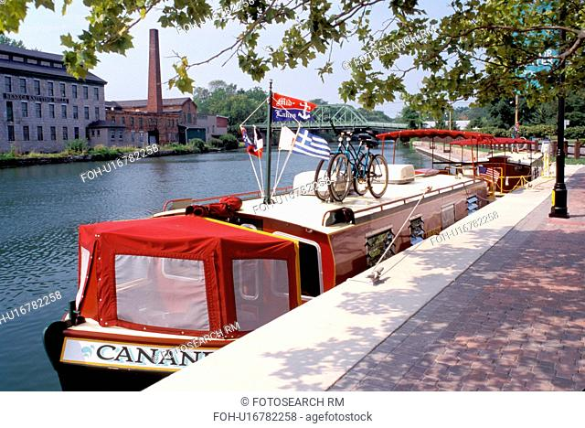 Seneca Falls, canal, Finger Lakes, New York, NY, Cruise line boat along the Cayuga-Seneca Canal