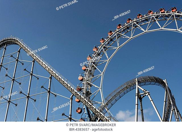 Roller coaster and Ferris wheel, Tokyo Dome City Attraction, amusement park, Tokyo, Japan