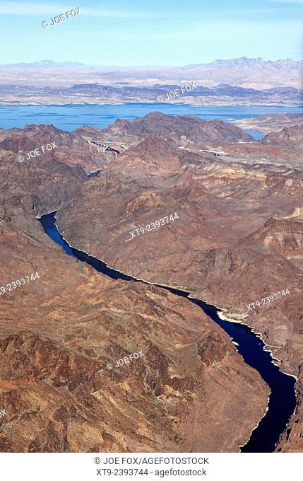 aerial view of the colorado river arizona nevada border below the hoover dam usa