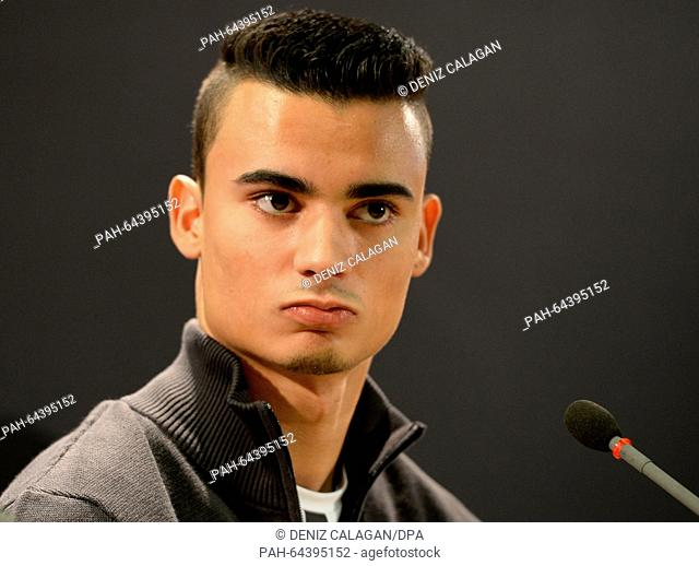 Pascal Wehrlein, overall winner of the Deutsche Tourenwagen Masters (DTM), speaks to journalists during the Stars & Cars press conference at the Mercedes-Benz...