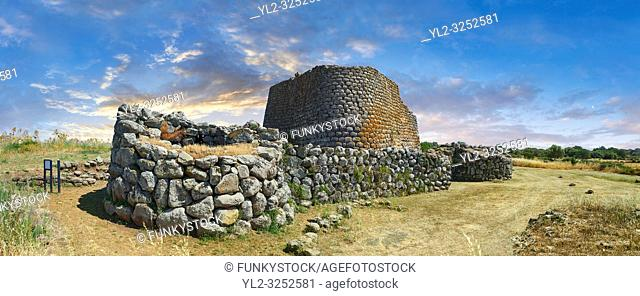 Picture and image of the prehistoric triangular shaped magalith ruins of Nuraghe Losa, archaeological site, Bronze age (14 -9 th century BC), Abbasanta