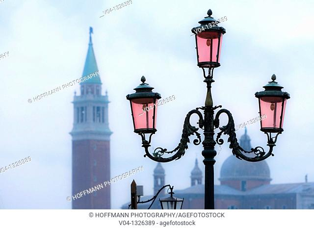 Close up of lantern and campanile in Venice, Italy, Europe