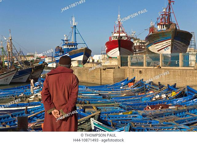 Local man at the fishing harbour, Essaouira, Morocco