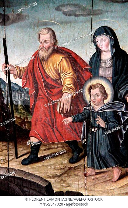 Painting at Chaource church, Aube, Champagne-Ardenne, France