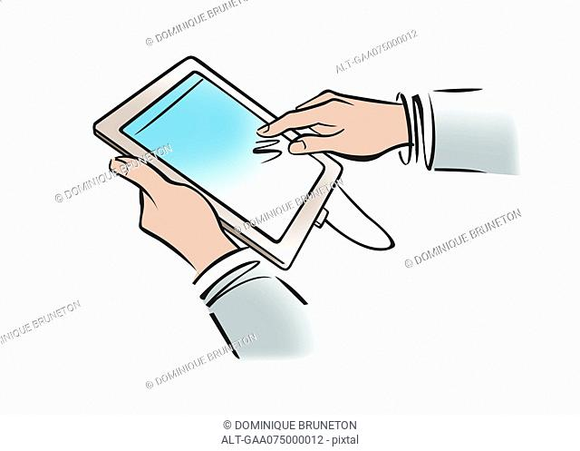 Illustration of businessman's hands holding digital tablet
