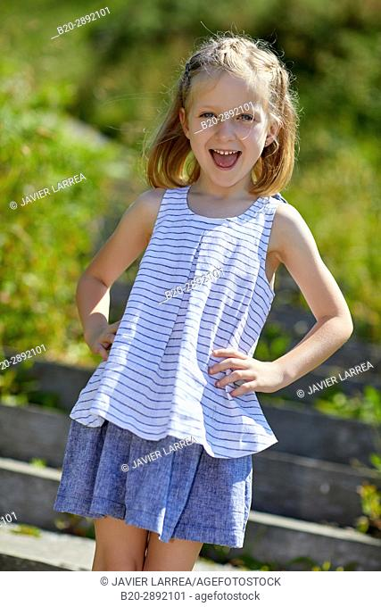 Girl, Marine clothing, Zarautz, Gipuzkoa, Basque Country, Spain, Europe
