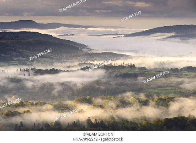 Mist covered Lake District countryside at dawn, Cumbria, England, United Kingdom, Europe