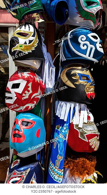 Facemasks at Souvenir Shop, Playa del Carmen, Riviera Maya, Yucatan, Mexico